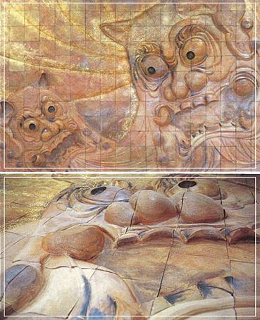陶壁 W4,500×H3,000㎜ 分割製作(250×250㎜ 216枚) 一部純金焼成仕上げ